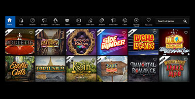 A choice of casino games at Betway.