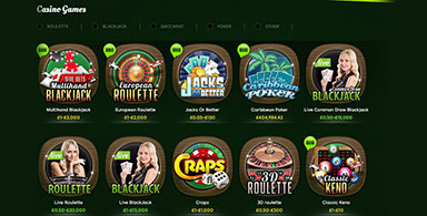 A selection of casino games.