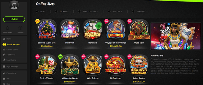 888 Casino Slot Game Selection Screen