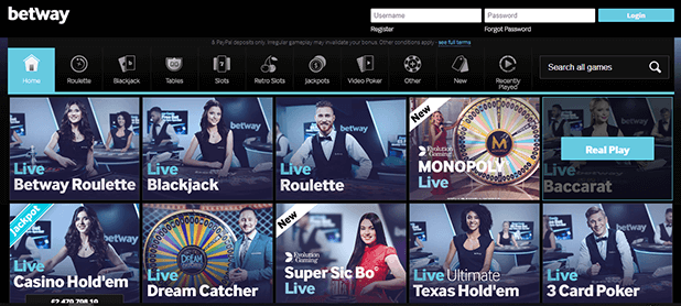 Betway Live Casino Game Selection Screen