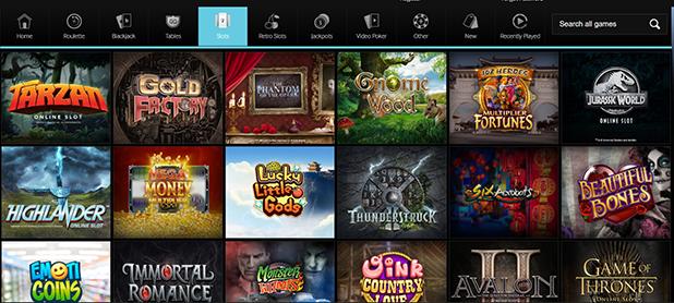 Betway Slot Games Selection Screen