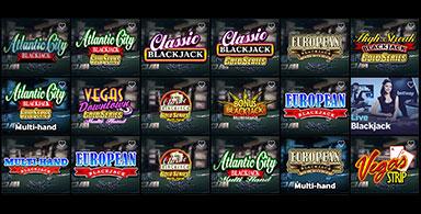 A choice of Blackjack games