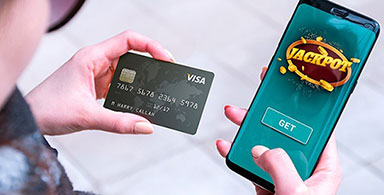 Mobile casino player making payment