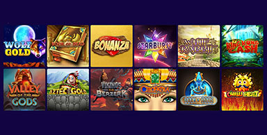 Available slot games at a casino.