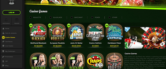 888 Casino Table Games Selection
