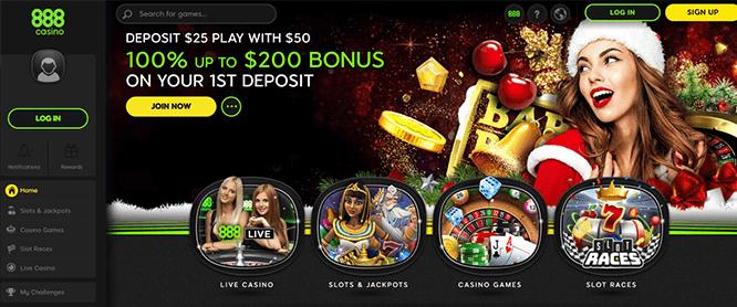 888 Casino Home Page Screen