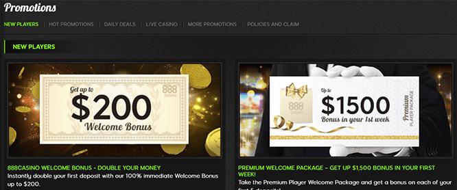888 Casino New Player Bonuses