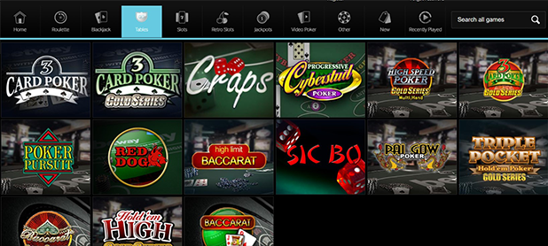 Betway Table Games Selection Screen